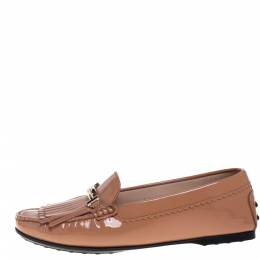 Tod's Beige Patent Leather Double T Fringe Loafers Size 37 388077