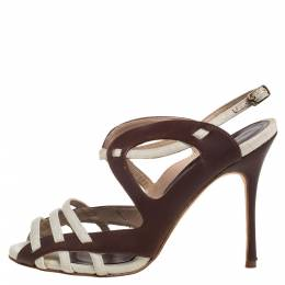 Manolo Blahnik Brown/White Leather and Canvas Strappy Slingback Sandals Size 36.5 386911