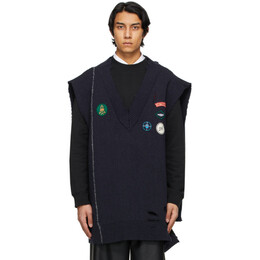 Raf Simons Navy Oversized Destroyed Knit Sweater A01-809