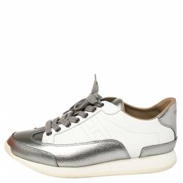 Hermes Metallic Silver/White Leather H Sneakers Size 39 387926