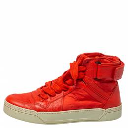Gucci Red Leather and Nylon Guccissima High Top Sneakers Size 43 387824