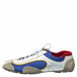 Prada Sport Multicolor Nylon, Suede and Leather Lace Up Sneakers Size 45 387823
