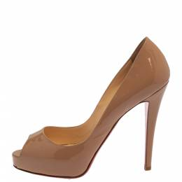 Christian Louboutin Beige Patent Leather Very Prive Pumps Size 40.5 389437