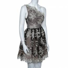 Alice+Olivia Monochrome Embroidered Lace One Shoulder Morganne Dress XS 388722