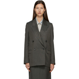 Acne Studios Grey and Black Double-Breasted Suit Blazer AH0134-