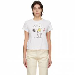 Re/done White Peanuts Edition Snoopy and Woodstock T-Shirt 024-2WCGT184