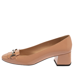 Tod's Pink Patent Leather T Loafer Pumps Size 39 390564