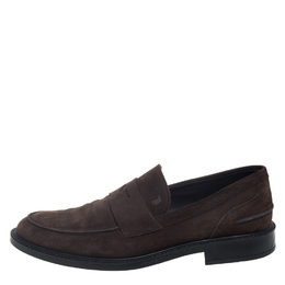Tod's Brown Suede Penny Slip On Loafers Size 44.5 390632