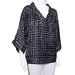 Max Mara Monochrome Printed Oversized Sleeve Top L 389986