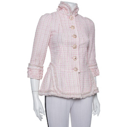 Chanel Baby Pink Tweed Stand Collar Fringed Jacket S 387755