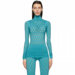 Blue Perforated Turtleneck YS105SS21 Maisie Wilen