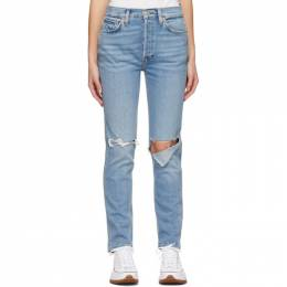 Re/done Blue 80s Slim Straight Jeans 190-3W8SS
