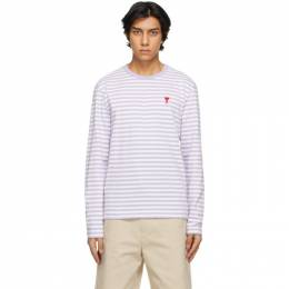 Ami Alexandre Mattiussi Purple and White Ami De Coeur Mariniere Long Sleeve T-Shirt E21HJ106.72