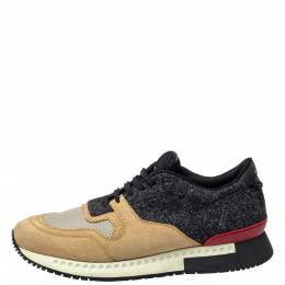 Givenchy Beige/Black Suede Mesh And Wool Active Runner Sneakers Size 43 390658