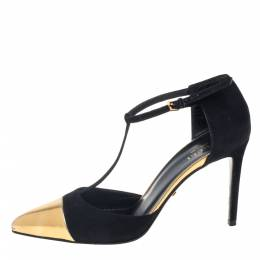 Gucci Black/Gold Suede And Leather Coline Cap Toe T Strap Pumps Size 36 390604