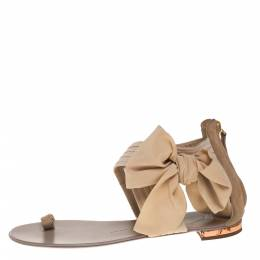 Giuseppe Zanotti Beige Fabric And Suede Flat Sandals Size 39 390679