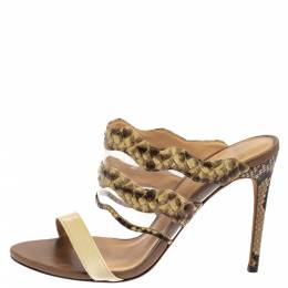 Alexandre Birman Cream/Brown Python, PVC And Leather Sandals Size 38 392006