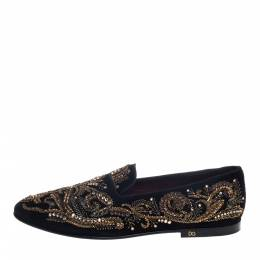 Dolce and Gabbana Black Suede Embellished Smoking Slippers Size 44 391906