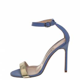 Manolo Blahnik Blue/Gold Leather Ankle Strap Sandals Size 37 392315