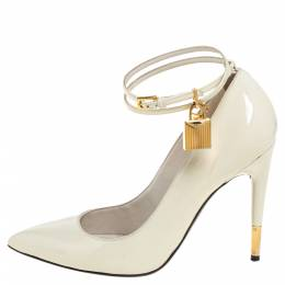 Tom Ford Cream Patent Leather Padlock Ankle Wrap Pointed Toe Pumps Size 38.5 390854