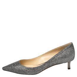 Jimmy Choo Grey Glitter Romy 40 Anthracite Pointed Toe Pumps Size 38 388610