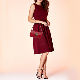 Dkny Red Grain Leather Flap Shoulder Bag 392695