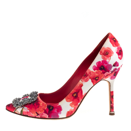 Manolo Blahnik Multicolor Floral Satin Hangisi Pumps Size 38.5 392775