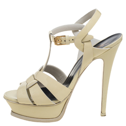 Saint Lauren Cream Patent Leather Tribute Sandals Size 37 391141 Saint Laurent Paris