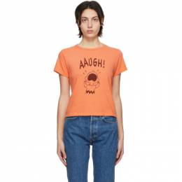 Re/done Orange Peanuts Edition Classic Aaugh T-Shirt 024-2WCGT185