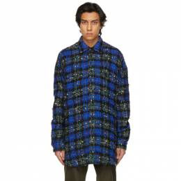Faith Connexion Blue and Green Tweed Oversized Shirt EXS21238