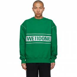 We11Done Green Reflective Logo Sweatshirt WD-SS5-19-048-GR