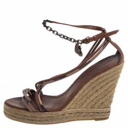 Burberry Brown Leather Cross Strap Espadrille Wedge Sandals Size 39 391372