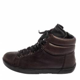 Prada Sport Brown Leather High Top Sneakers Size 35 393876