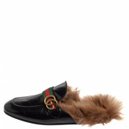 Gucci Black Leather And Fur Lined GG Web Princetown Mules Size 43 393918