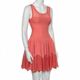 Alaia Pink Striped Knit Flared Sleeveless Flared Dress M 392716