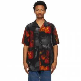 Y / Project Black and Red Silk Rose Resort Short Sleeve Shirt SHIRT38-S20
