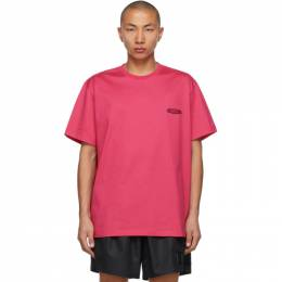 Wooyoungmi Pink Embroidered Logo T-Shirt TS07
