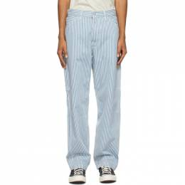 Levi's Blue Striped Stay Loose Carpenter Trousers 55849-0010
