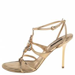 Louis Vuitton Metallic Gold Leather Crystal Embellished Strappy Sandals Size 41 392575