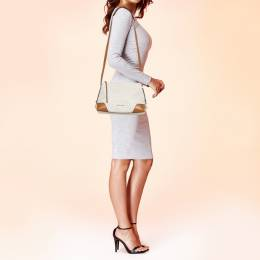 Michael Kors White Signature Coated Canvas and Leather Medium Crosby Messenger Bag 393112