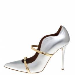 Malone Souliers Silver/Gold Leather Maureen Pointed Toe Pumps Size 39.5 394816