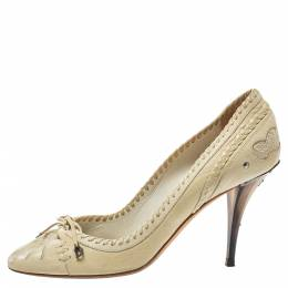 Dior Cream Leather Country Horn Pumps Size 40 395085