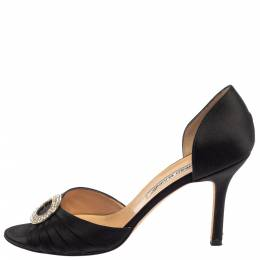 Manolo Blahnik Black Pleated Satin Sedaraby D'orsay Sandals Size 39 394827