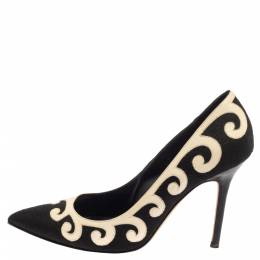 Manolo Blahnik Black/White Leather And Canvas Pumps Size 39.5 394823