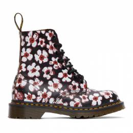 Dr. Martens Black and Red Floral 1460 Pascal Boots 26456002