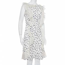 Oscar de la Renta White Painted Effect Lace Ruffle Detail Short Dress M 395229