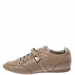 Dior Beige Cannage Leather Low Top Sneakers Size 40 395767