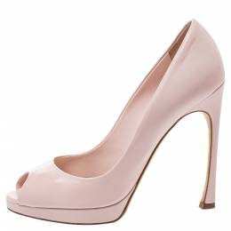 Dior Pink Leather Miss Dior Peep-Toe Pumps Size 37.5 395091