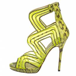 Jimmy Choo Neon Python And Mesh Magnum Sandals Size 40 394727