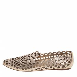 Tory Burch Dull Gold Laser Cut Leather Logo Thatched Espadrille Flats Size 41 396454